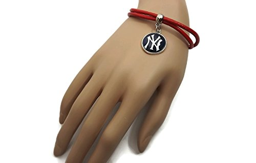 Yankees Leather Wrap Team Charm - Bracelet Baseball Leather