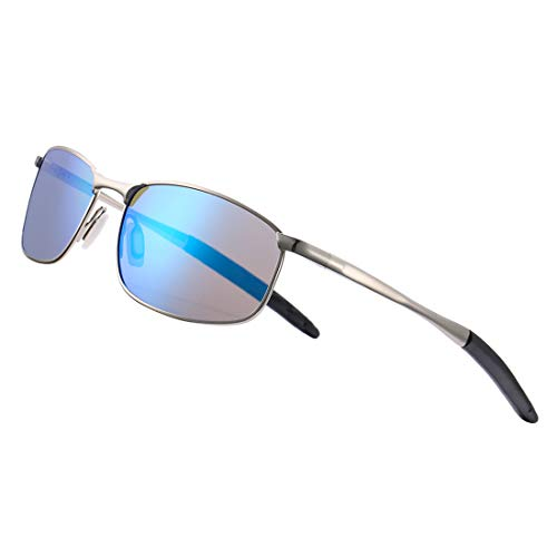 COASION Men's Fashion Polarized Sunglasses Lightweight Durable Metal Frame Black Lens Sun Glasses (Silver Frame/Blue Mirror - Predator Wrap Sunglasses