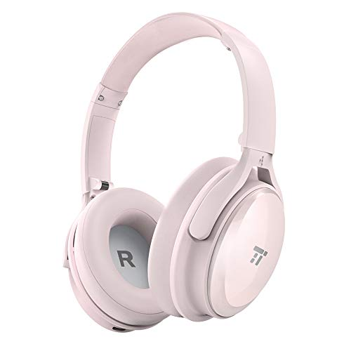 TaoTronics Active Noise Cancelling Bluetooth Headphones, Over Ear Wireless Headset, Dual 40 mm Drivers with Powerful Bass (30 Hour Playtime, CVC 6.0 Noise-Cancelling Mic, High Clarity Sound)-Pink