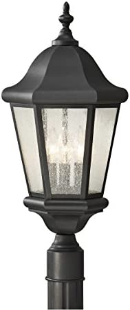 Sea Gull Lighting OL5907BK Martinsville Three Light Outdoor Post Lantern Outside Fixture, Black