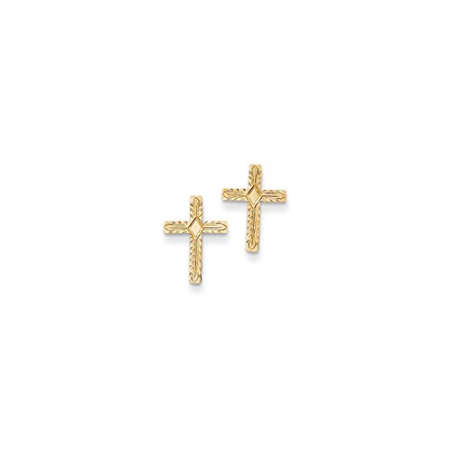 14k Textured Cross (Roy Rose Jewelry 14K Yellow Gold Polished & Textured Cross Earrings)