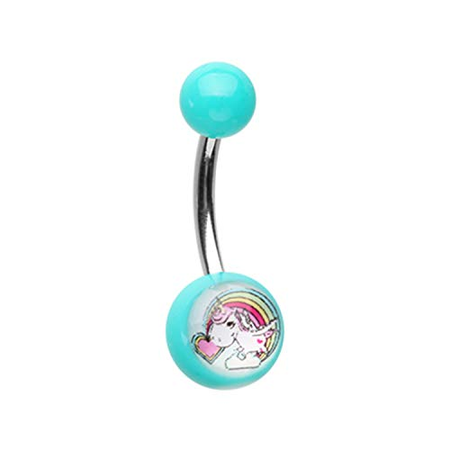 Little Aiden Rainbow Unicorn Acrylic Logo Navel Belly Button Ring Size 14GA 3/8