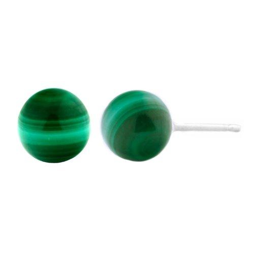Malachite Stud 14k - Trustmark 14k White Gold 6mm Natural Green Malachite Ball Stud Earrings