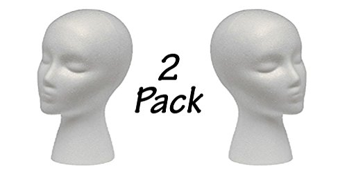 - 2 Styrofoam Mannequin Head with Female Face