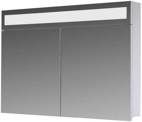 P60 Breite 60 cm Paris Superflache Wei/ß Eurosan 2-t/üriger Spiegelschrank Integrierte LED-Frontbeleuchtung