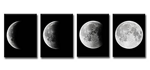Wowdecor Wall Art 4 Pieces Multiple Pictures Canvas Prints - 4 Panels Full Moon Night Giclee Pictures Paintings Printed Pictures on Canvas, Posters Wall Decor Gift - UNFRAMED (Full Panel Piece 4)