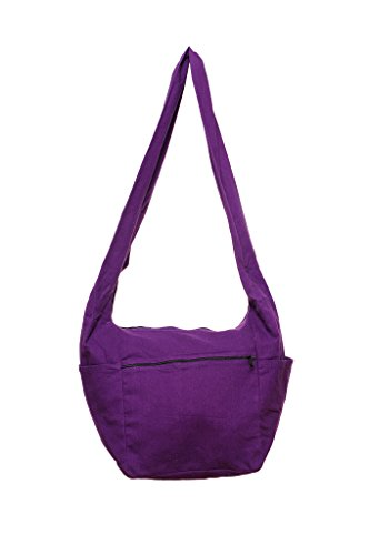 Avarada Thai Cotton Hippie Hobo Sling Crossbody Bag Messenger Purse Bohemian Solid Purple
