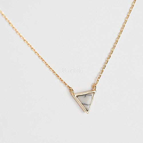 Inverted Pendant Stone (Tiny Inverted White Simulated Howlite Stone Triangle Necklace)