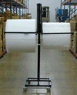 36'' Telescoping Double Arm Bubble Wrap® & Foam Roll Floor Unit Dispenser w/ Casters & Tear Tag