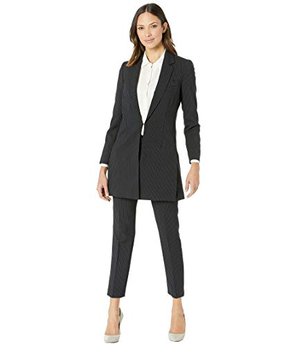 Tahari by ASL Women's Pinstripe Topper Jacket Pants Suit Black/Blue 12