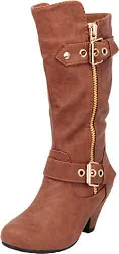 79125d2ca966 Cambridge Select Girls  Strappy Buckle Chunky Mid Heel Knee-High Boot ( Toddler