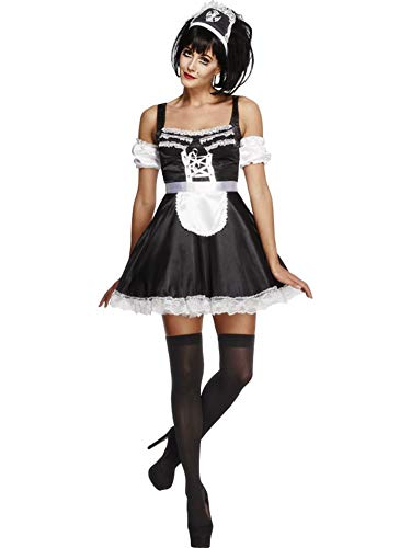 Smiffys Women's Fever Flirty French Maid Costume, Dress, Headpiece and Sleeves, Around the World, Fever, Size 14-16, 31212 ()