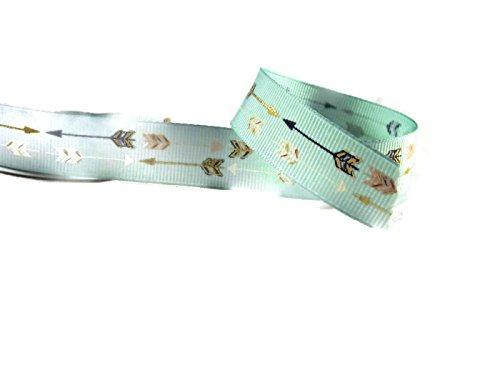 Double Arrow Ribbon Light Mint Green & Gold Foil Grosgrain Ribbon - 4 Yards