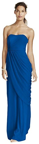 Long Strapless Mesh Bridesmaid Dress With Side Draping Style W10482  Horizon  2