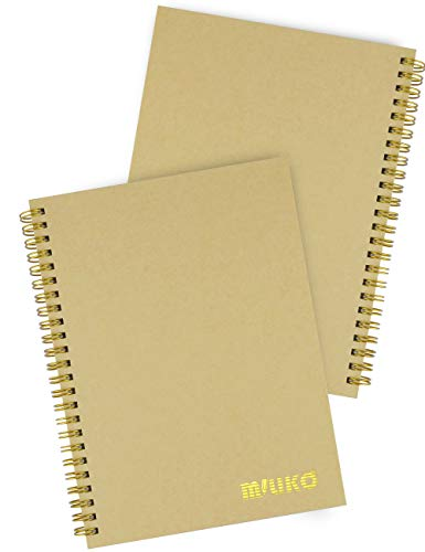 Miliko A5 Size Kraft Paper Hardcover Ruled Wirebound/Spiral Notebook/Journal-2 Notebooks Per Pack-70 Sheets (140 Pages)-8.27 Inches x 5.67 Inches(Golden Binding Rings, Kraft Ruled)