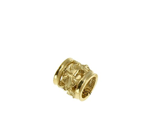 14K Solid yellow gold 7mm Hawaiian plumeria flower barrel tube slide pendant