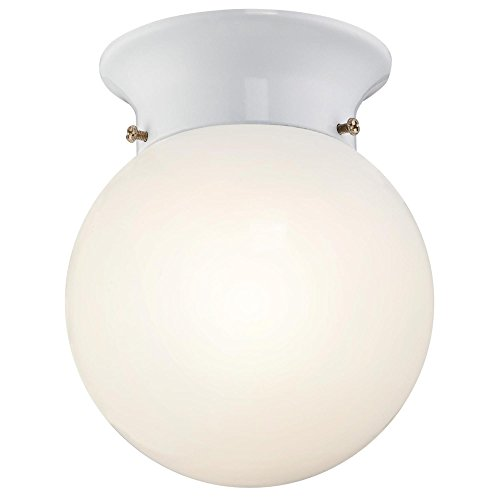 Westinghouse 6107000 5-13/16-Inch ENERGY STAR LED Indoor Flush Mount Ceiling Fixture, White Finish with White Opal Glass Globe White Finish Indoor Ceiling Fixture
