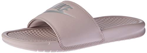 Nike Women's Benassi Just Do It Sandal, Particle Rose/Metallic Silver, 8 Regular US