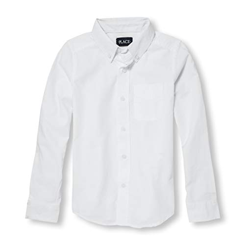 (The Children's Place Big Boys' Long Sleeve Uniform Oxford Shirt, White 5063, Medium/7/8)