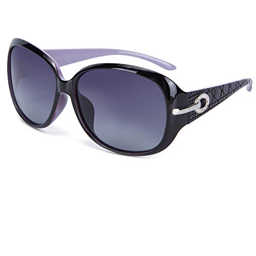 MOTINE Women's Shades Classic Oversized Polarized Sunglasses 100% UV Protection (Purple Frame Gray Lens, 62mm) (Driver Head Coves)