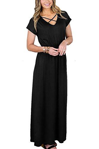Slim Cotton Polyester - NICIAS Women's Short Sleeve Maxi Dress with Pockets Criss Cross Plain Loose Swing Casual Floor Length Long Dresses Black Large