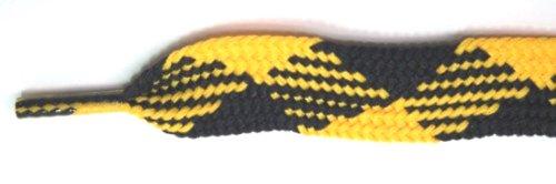 Lacci Grassa Di Footgalaxy (lacci Delle Scarpe) Per Stivali E Scarpe Nero-oro-argyle