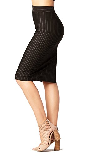 (Premium Stretch Pencil Skirt for Women with Slit - Pull On Elastic Waistband - Bodycon Midi Skirts - Pinstripe Black - Small )