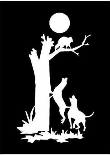 White Vinyl Decal - Coon Dog Tree Hunting Hunt Raccoon Truck Farm Country, Die Cut Decal Bumper Sticker for Windows, Cars, Trucks, Laptops, Etc.