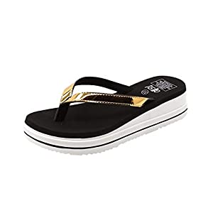 MTENG Women's Fashion Outdoor Mid-Heels Slippers Wild Solid Color Beach Flip Flops (35-40)