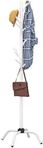 玄関収納 耐久性のあるクリエイティブコートラックハットスタンド無料立ちディスプレイホールツリー金属帽子ハンガー衣服ストレージホルダー服フックとスカーフの複数のフック (Color : White, Size : 40×176.5cm)