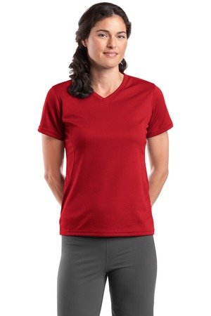 Sport-Tek L468V Dri-Mesh Ladies V-Neck T-Shirt - Red - XXL