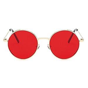 Transer Simple Rounded Design Women Men Classic Metal Frame Mirror Sunglasses Eye Glasses (A-D)