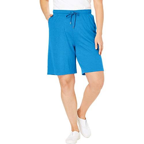 - Woman Within Women's Plus Size Sport Knit Short - Vibrant Blue, L