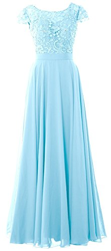MACloth Women Cap Sleeve Mother of Bride Dress Vintage Lace Evening Formal Gown Cielo azul