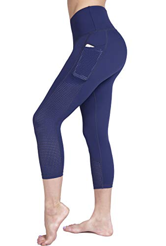 (Raypose Womens High Waist Workout Capris Leggings w Pockets Running Capri High Waisted Tummy Control Yoga Pants Non See Through for Fitness Blue-S)