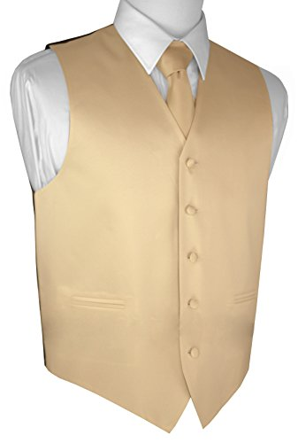 Champagne Tuxedo Vest (Brand Q Men's Formal Prom Wedding Tuxedo Vest, Tie & Pocket Square Set-Champagne-2XL)