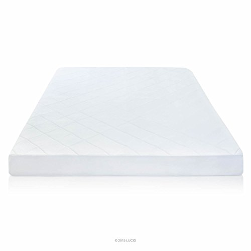 """LUCID 1/2"""" Quilted Memory Foam Mattress Pad with Bamboo Cover - Queen"""