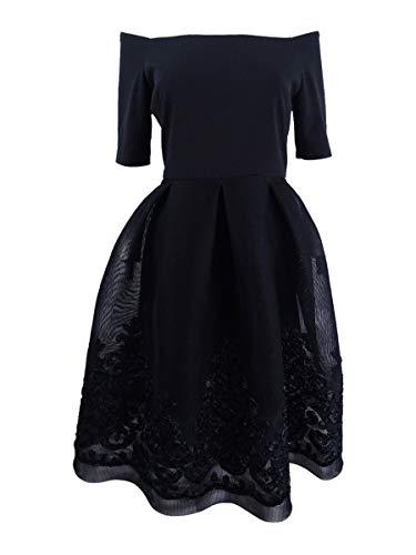 Jessica Howard Off Shoulder Beaded Skirt Dress 8 Black