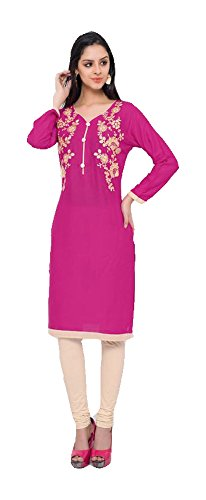 Jayayamala Lovely Pink Cotton Scoop Neck Robe en tunique brodée pour femmes / Tunique à manches courtes