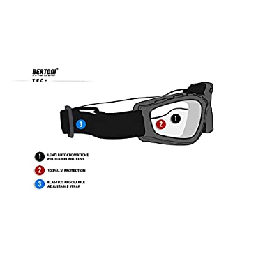 Bertoni Photochromic Motorcycle Goggles Extreme Sports Sunglasses Powersports Goggles Antifog Lens cod F120A by Bertoni Italy Wraparound Windproof Padded Glasses: Sports & Outdoors