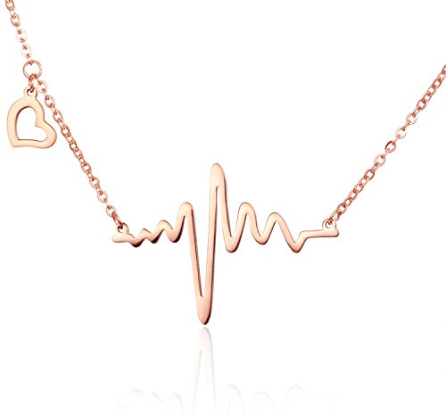 Rose Gold Forever Love Heartbeat Design Heart-shaped Stainless Steel Necklace