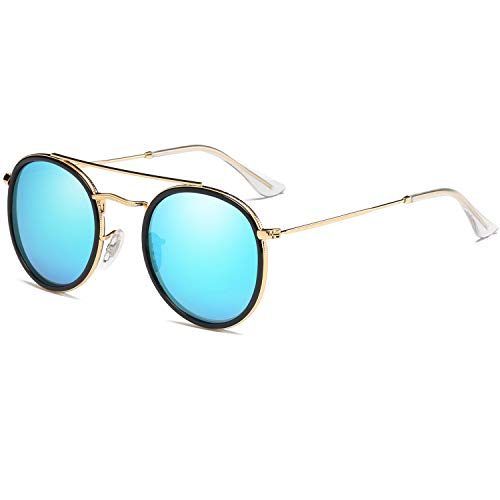 DUSHINE Small Round Polarized Sunglasses For Women Men Double Bridge 100% UV Protection