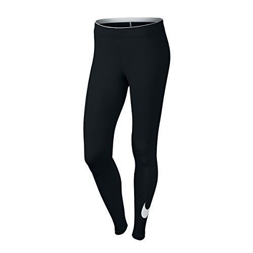 NIKE Womens Club Legging Large Swoosh Black/White 815997-010 Size Medium