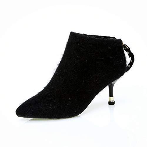 MHCDXGN Hochhackige Stiefel Temperament Weibliche Temperament Stiefel  Europäischen Und Amerikanischen Mode Plüsch Nackten Stiefel Herbst Und b7681c8293