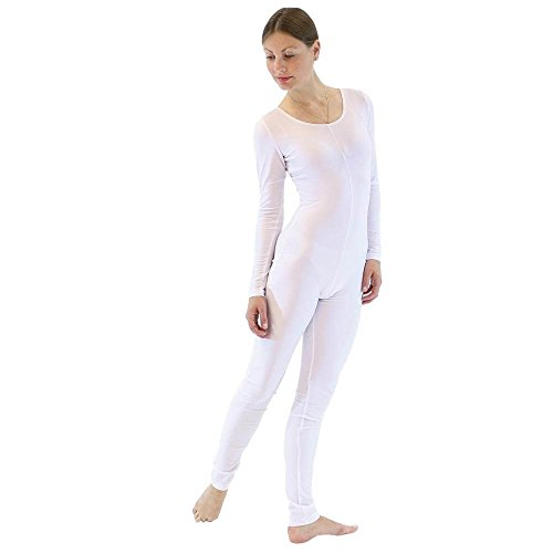 Dancewear Unitard (Danzcue Womens Long Sleeve Unitard Bodysuit Dancewear (Small, White))