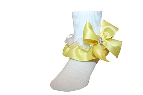 Girls Ruffle Socks with Satin Organza Bows & Rhinestones in Assorted Colors (6-7.5 Girls, Yellow) (Ruffle Organza Socks)