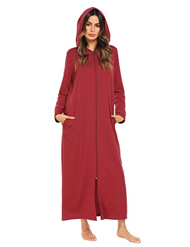Ekouaer Womens Fleece Snap-Front Robe Full Length Hooded Bathrobe,Wine Red,Large