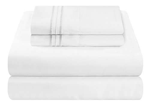 Mezzati Luxury Bed Sheet Set - Soft and Comfortable 1800 Prestige Collection - Brushed Microfiber Bedding (White, Queen Size) (Pima Cotton Sheets)