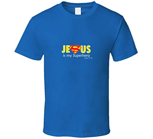 Jesus is My Superhero Comic Cool Superman Logo Royal Blue T Shirt XL Royal Blue -