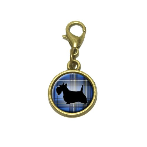 (Scottie Dog on Blue Plaid Scottish Terrier Cute Bracelet Pendant Charm)